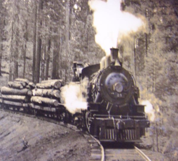 Steam train going through Dunsmuir train town, California, Siskiyou County - Dunsmuir is a hub of locomotive transportation near Mt. Shasta.