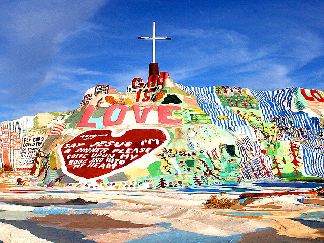 Salvation Mountain by Leonard Knight. Photo by Chuck Coker. This is near Calipatria and Niland in Imperial County, CA. http://journeycalifornia.com/imperial-county-california-map-towns-history/
