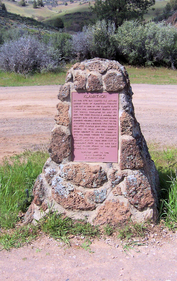 This marks the site of the town of Klamathon, Siskiyou County, California..