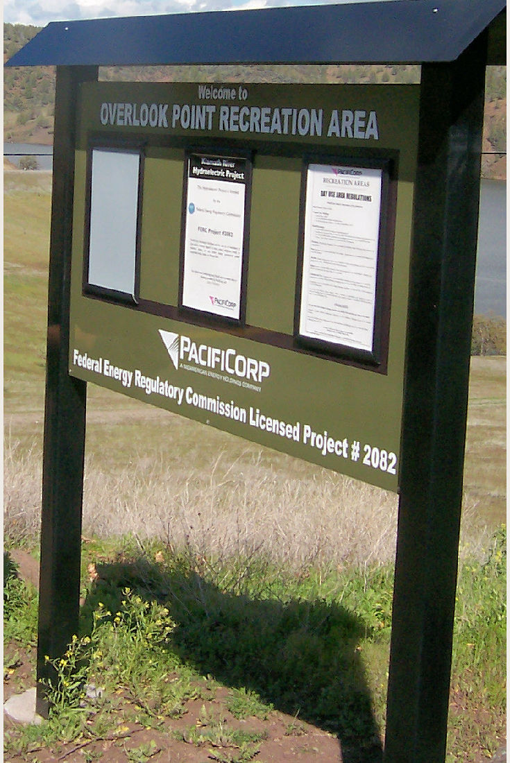 Sign at Overlook Point Recreation Area, Iron Gate Reservoir.